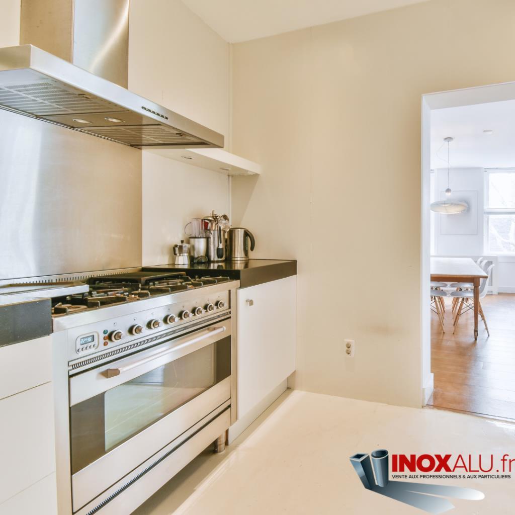 Vente de fond de hotte inox pour piano de cuisson de for Hauteur credence standard